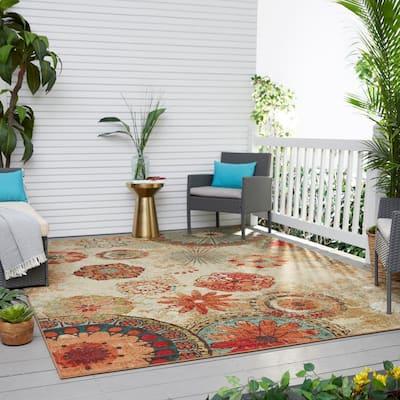 Alexa Medallion Brown 5 ft. x 8 ft. Indoor/Outdoor Area Rug