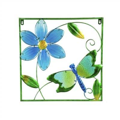 Dragonfly Metal Outdoor Framed Wall Decor