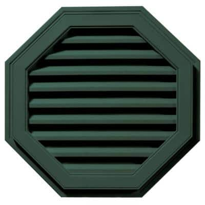 27 in. x 27 in. Octagon Green Plastic Built-in Screen Gable Louver Vent