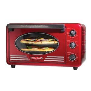 Retro Series 12-Slice Red Convection Toaster Oven with Built-in Timer