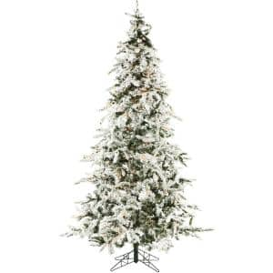Christmas Time 7 5 Ft White Pine Snowy Artificial Christmas Tree With Clear Led String Lighting Ct Wp075 Led The Home Depot