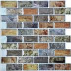 12 in. x 12 in. Peel and Stick Vinyl Backsplash Tile in Colorful Stones Design (6-Pack)