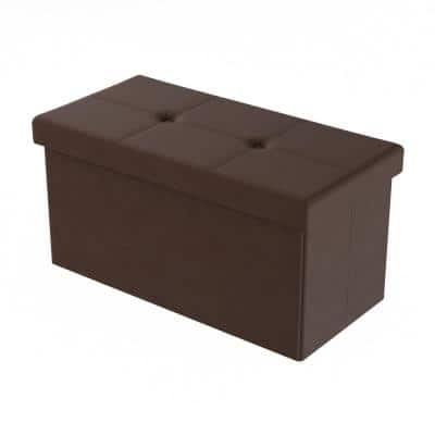 Brown Faux Leather Large Foldable Storage Bench Ottoman