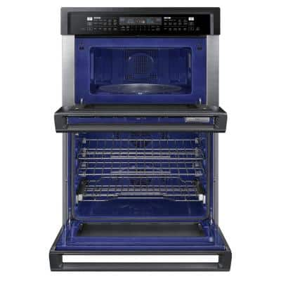 30 in. Electric Steam Cook Wall Oven with Speed Cook Built-In Microwave in Fingerprint Resistant Black Stainless