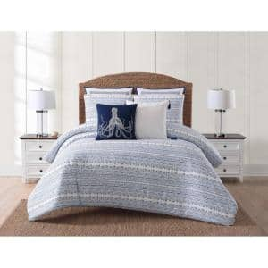 Reef 3-Piece Blue Full/Queen Comforter Set