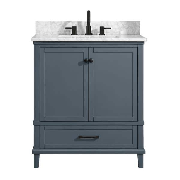 Home Decorators Collection Merryfield 31 In W X 22 In D Bath Vanity In Dark Blue Gray With Marble Vanity Top In Carrara White With White Basin 19112 Vs31 Dg The Home Depot