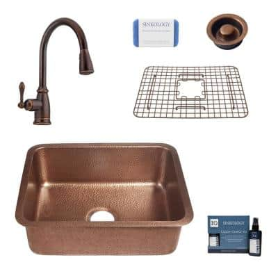 Renoir All-In-One Undermount Copper 23 in. Single Bowl Copper Kitchen Sink with Pfister Bronze Faucet and Drain