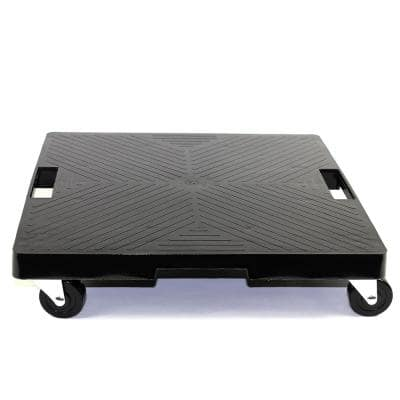 16 in. x 16 in. x 4 in. Black HDPE Square Plant Dolly/Caddy with Handle