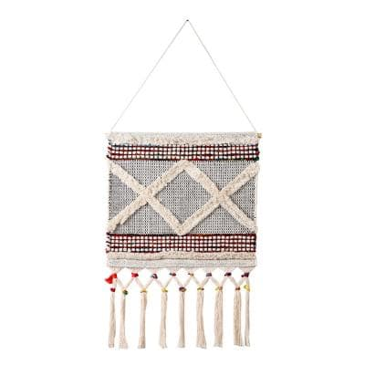 Boho Chindi 19.5 in. x 36 in. Multicolored/White Textured Geometric Woven Wall Hanging