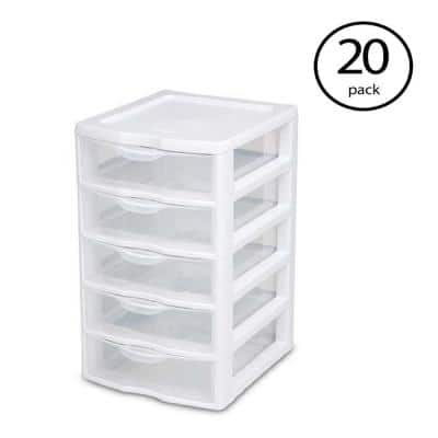 7.25 in. x 11 in. x 8.5 in. Clearview Small 5-Drawer Desktop Storage Unit, White (20-Pack)