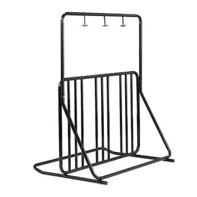 Black 6-Bike Foldable Floor Stand Garage Bike Rack