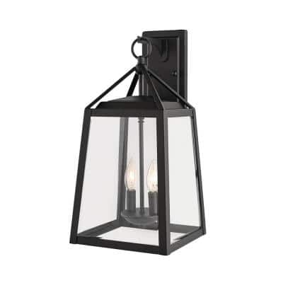 Blakeley Transitional 2-Light Black Outdoor Wall Lantern with Beveled Glass