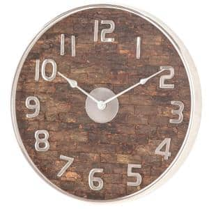 18 in. x 18 in. Rustic Brown Round Wall Clock