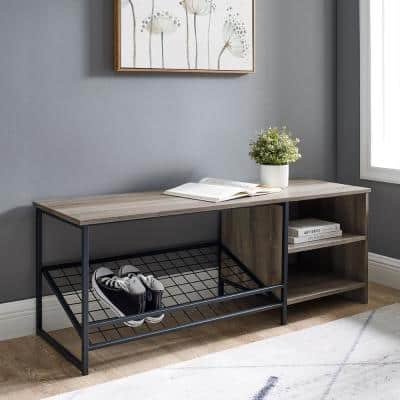 48 in. Grey Wash Industrial Entry Bench with Shoe Storage
