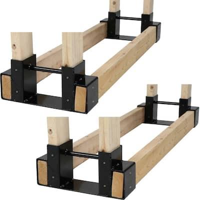 Steel Firewood Log Rack Bracket Kit - Adjustable to Any Length (Set of 2)