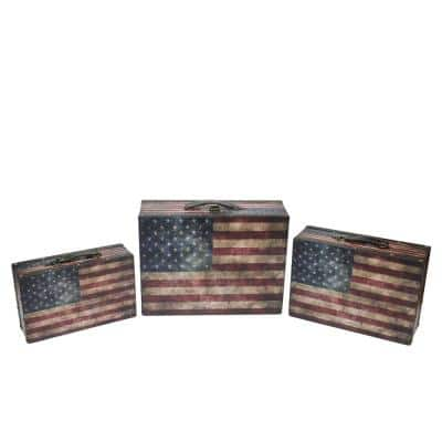 16 in. Rustic American Flag Decorative Wooden Storage Boxes (Set of 3)