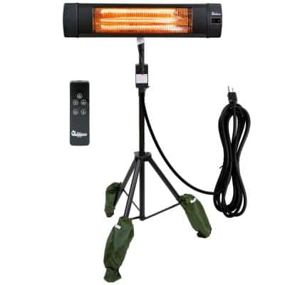 1500-Watt Indoor/Outdoor Carbon Infrared Patio Heater, with Tripod and Remote, Black