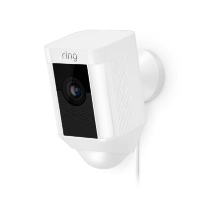Spotlight Cam Wired Outdoor Rectangle Security Camera, White (3-Pack)