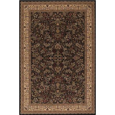 Persian Classic Sarouk Black Rectangle Indoor 9 ft. 3 in. x 12 ft. 10 in. Area Rug