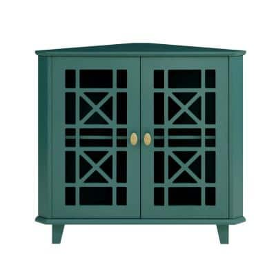 Dark Teal Wood and Glass Corner Accent Cabinet with Fretwork Doors