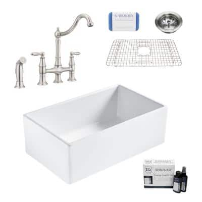 Bradstreet II All-in-One Fireclay 30 in. Single Bowl Farmhouse Kitchen Sink with Pfister Bridge Faucet and Drain
