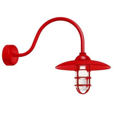 Retro Industrial 23 in. Arm 1-Light Red Clear Glass Lens Outdoor Wall Mount Sconce