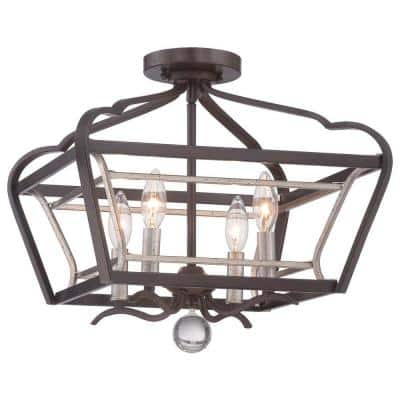 Astrapia 4-Light Dark Rubbed Sienna with Aged Silver Semi-Flush Mount Light