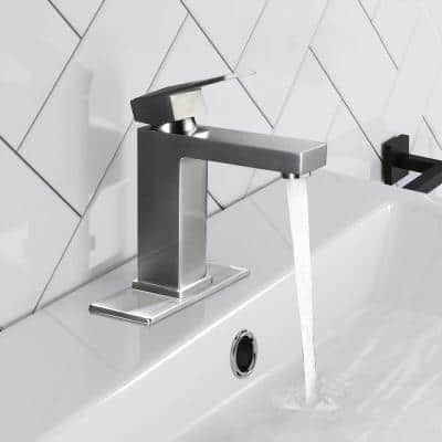 Single Hole Single-Handle Bathroom Faucet in Brushed Nickel with Deck Plate