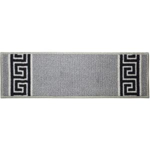 Meander Custom Size Gray 11.5 in. W x 26 in. H Indoor Carpet Stair Tread Cover Slip Resistant Backing (Set of 13)