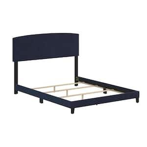 Easton Full Navy Blue Velvet Platform Bed with Headboard