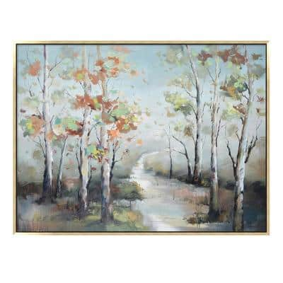 """""""Fall Colorful Trees in. Champagne Wooden Floating Frame Hand Painted Acrylic Wall Art on a 47 in. x 35 in."""