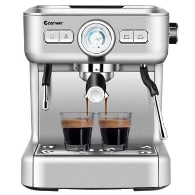 2-Cup Stainless Steel Semi-Auto Espresso Machine Maker with Milk Frother Wand