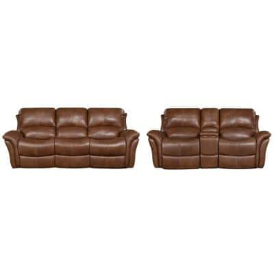 Yellowstone 2-Piece Golden Brown 100% Genuine Leather Set with Double-Reclining Sofa and Gliding Console Loveseat