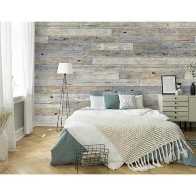 5 in. W x 48 in. L Reclaimed Peel and Stick Solid Wood Wall Paneling (Set of 2 Box)