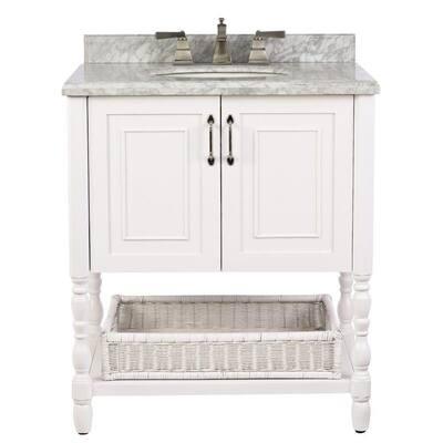 Karlie 30 in. W x 22 in. D Bath Vanity in White with Natural Marble Vanity Top in White