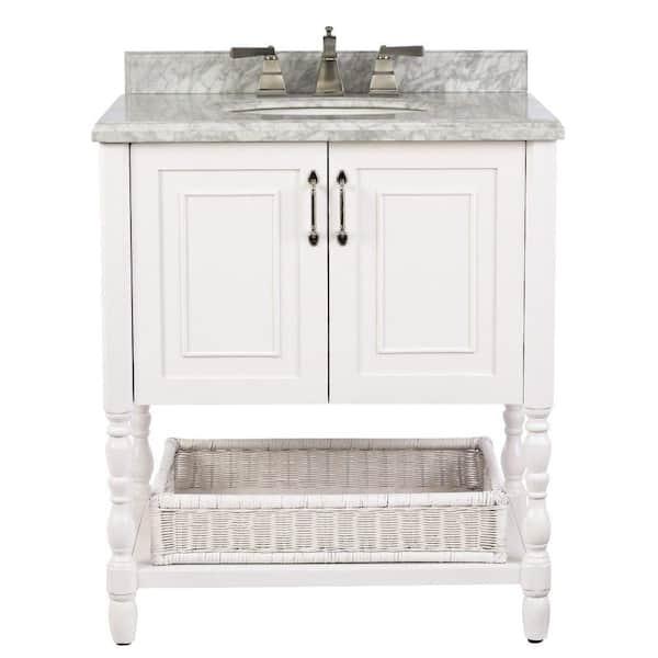 Natural Marble Vanity Top In White, Home Depot Bathroom Vanities 30