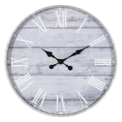 28 in. Galvanized Metal Gray Washed Wood Plank Roman Numeral Round Wall Clock