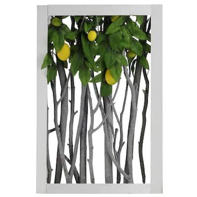 18.5 in. White Birch Branch Lemon Tree Rustic Wooden Frame Decoration