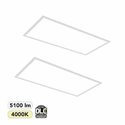 2 ft. x 4 ft. 350-Watt Equivalent White Integrated LED Backlit Troffer, 5100 Lumens, 4000K Bright White (2-Pack)
