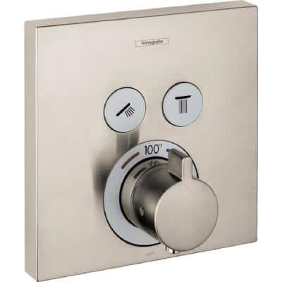 ShowerSelect E 1-Handle Thermostatic Valve Trim Kit in Brushed Nickel (Valve not Included)