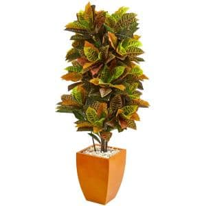 Real Touch 5.5 ft. Indoor Croton Artificial Plant in Orange Planter