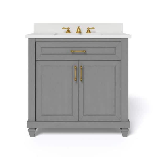 Home Decorators Collection Grovehurst 36 In W X 34 5 In H Bath Vanity In Antique Grey With Engineered Stone Vanity Top In White With White Basin Hdc36dgv The Home Depot