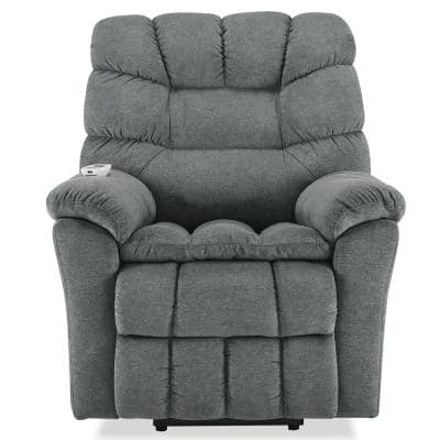 Gray Fabric Power Lift Adjustable Massage Chair Recliner for Elderly with Heating System and 4-Massage Point