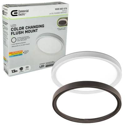 13 in. Color Selectable LED Flush Mount with Night Light Feature Optional White and Oil Rubbed Bronze Trim Rings