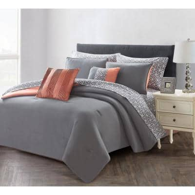 9-Piece Charcoal/Rose Queen Bed in a Bag Set