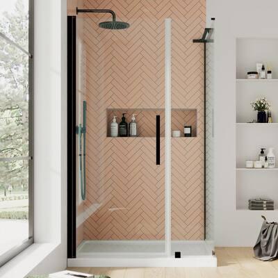 Pasadena 48 in. L x 36 in. W x 72 in. H Corner Shower Kit Pivot Frameless Shower Door & Shower Pan in Oil Rubbed Bronze