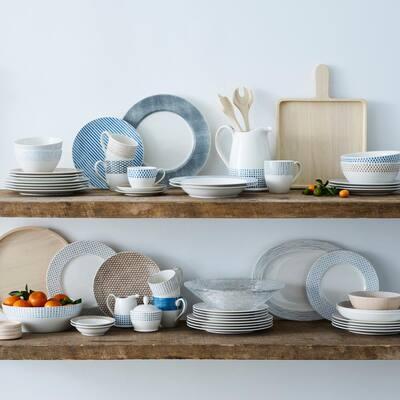 Khaki/White Hammock Porcelain Stripes Rim Dinner Plate 11 in.