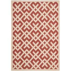 Courtyard Red/Bone 4 ft. x 6 ft. Indoor/Outdoor Area Rug