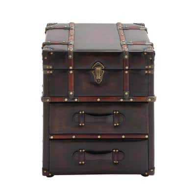 Espresso Brown Steamer Trunk Side Table