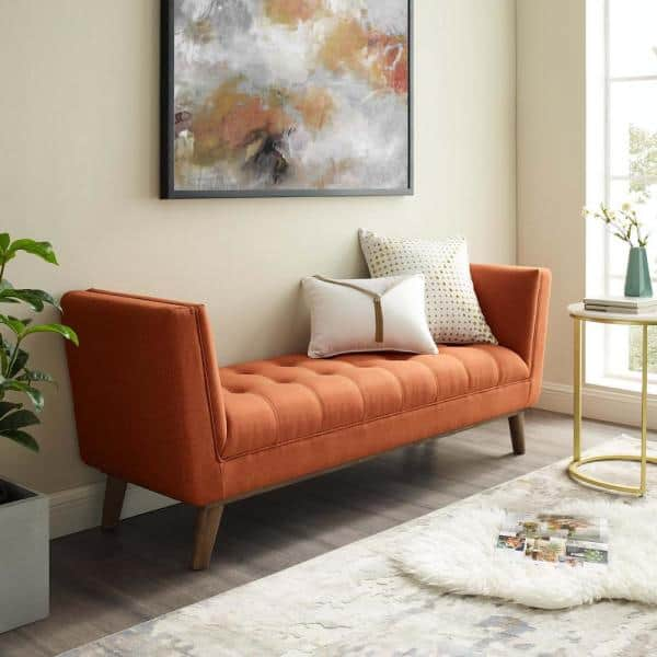 Modway Haven Orange Tufted Button Upholstered Fabric Accent Bench Eei 3002 Ora The Home Depot